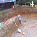 The pond dug out mot laid and steel reinforcing.