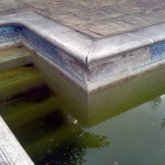 Old and tired Marbelite pool with tile band falling of.